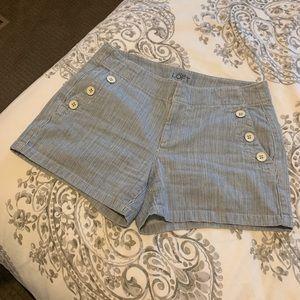 Pinstripe lightweight denim jean shorts.